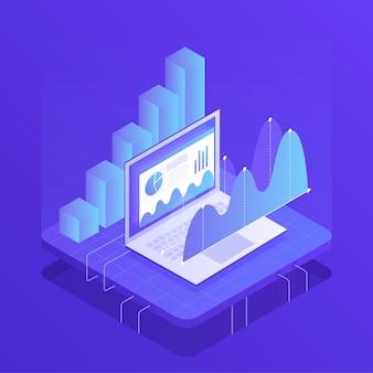 Estrategia de negocios. análisis de datos e inversiones. éxito en el negocio. ilustración moderna en estilo isométrico