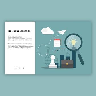 Estrategia de negocios. concepto de diseño plano de ilustración de página de destino para negocios, negocios en línea, inicio, comercio electrónico y mucho más