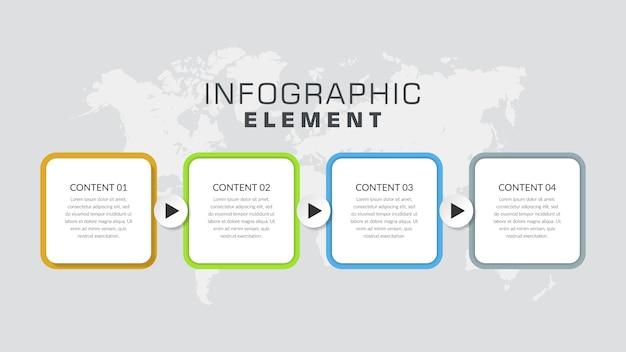 Estrategia de negocios de cuatro puntos colorido elemento infográfico con iconos