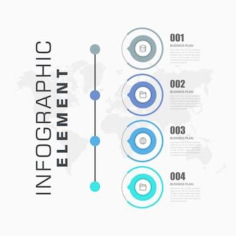 Estrategia de negocios de elemento de infografía de cuatro puntos con iconos