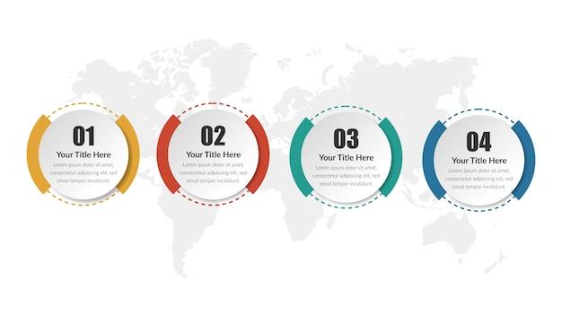 Estrategia de negocios de plantilla de círculo infografía con número