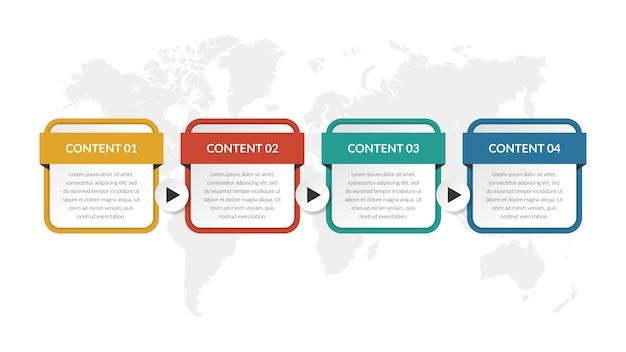Estrategia de negocios de plantilla de infografía de cuatro pasos con número
