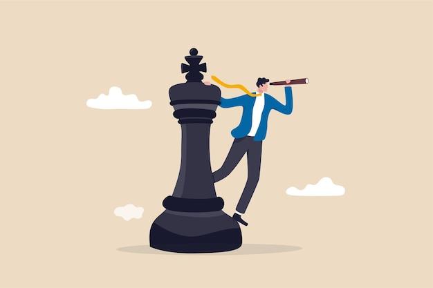 Estrategia de planificación empresarial, visión de liderazgo para tomar decisiones.