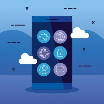 Estrategia de tecnología empresarial smartphone con iconos
