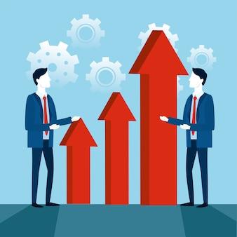 Estrategia de trabajo en equipo de empresarios con flechas y engranajes.