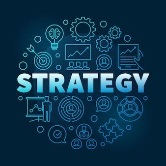 Estrategia de vector redondo ilustración de contorno azul