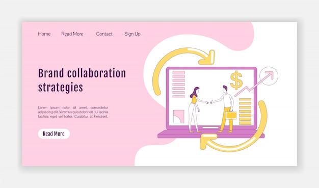 Estrategias de colaboración de marca página de inicio plantilla de silueta plana. diseño de página de marketing de afiliación. interfaz de sitio web de una página con personaje de contorno de dibujos animados banner web, página web