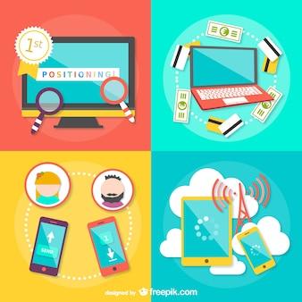 Estrategias de comercio electrónico vector gratuito