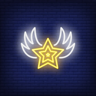 Estrella con alas letrero de neón