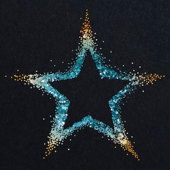 Estrella azul con vector de puntas doradas