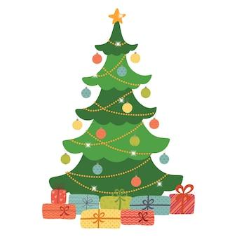 Estrella, bolas de decoración y cadena de bombillas decoradas con un árbol de navidad con un montón de cajas de regalo.