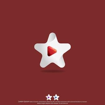 Estrella con botón de reproducción logo design vector