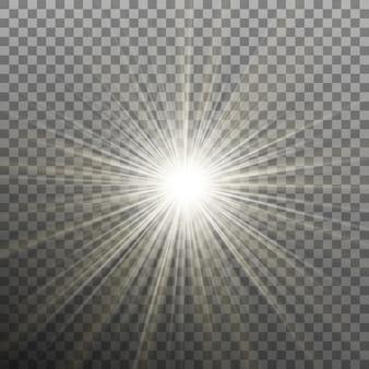 Estrella brillante brillante. estallido explosión. fondo transparente solo en