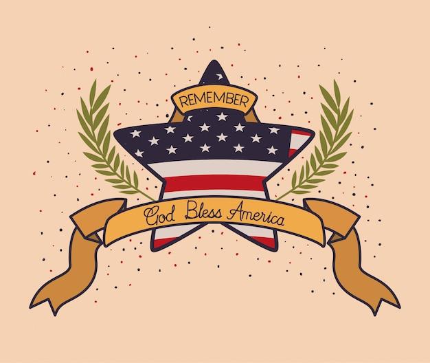 Estrella con corona y bandera de estados unidos del emblema del memorial day
