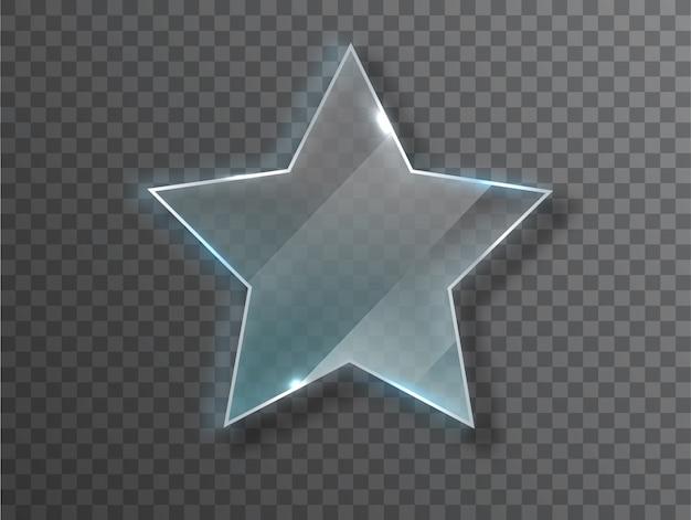 Estrella de cristal textura realista con reflejos y brillo en el transparente.