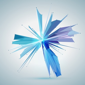 Estrella de malla de vector abstracto. puntos y polígonos conectados de manera caótica en el espacio. escombros voladores. tarjeta de estilo de tecnología futurista. líneas, puntos, círculos y planos. diseño futurista.