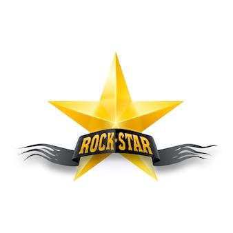 Estrella dorada con banner rock star