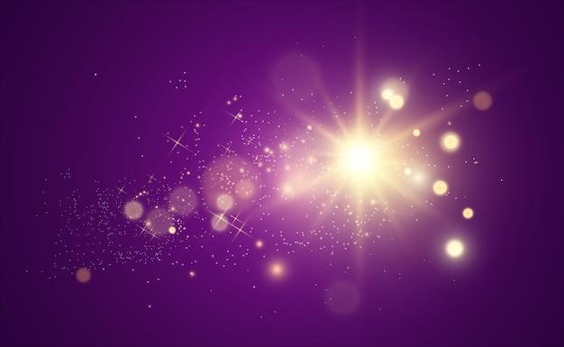 Estrella dorada brillante. efecto de luz estrella brillante. hermosa luz para ilustrar una estrella dorada brillante. efecto de luz estrella brillante.
