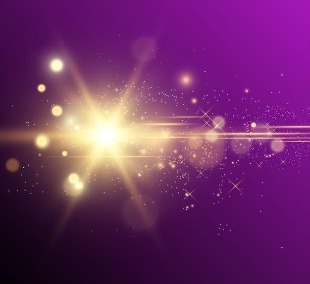 Estrella dorada brillante. efecto de luz estrella brillante. hermosa luz para ilustrar. estrella de navidad