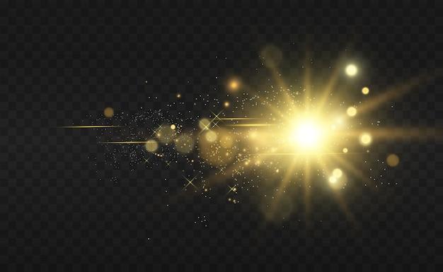 Estrella dorada brillante. efecto de luz estrella brillante.