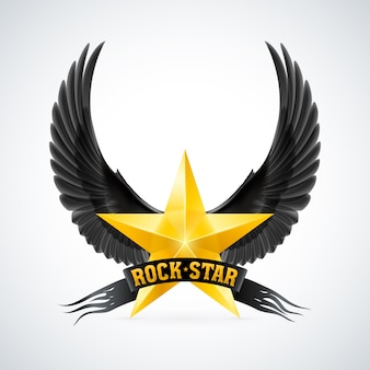 Estrella dorada con estandarte de estrella de rock y alas