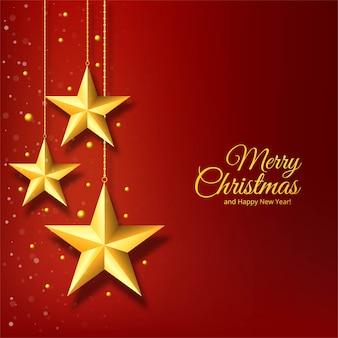 Estrella dorada de navidad sobre fondo rojo
