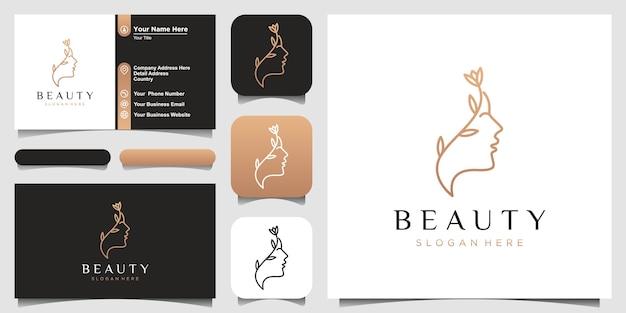Estrella de flor de rostro de mujer hermosa con logotipo de estilo de arte lineal y diseño de tarjeta de visita