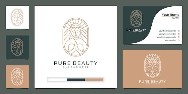 Estrella de flor de rostro de mujer hermosa con logotipo de estilo de arte lineal y tarjeta de visita