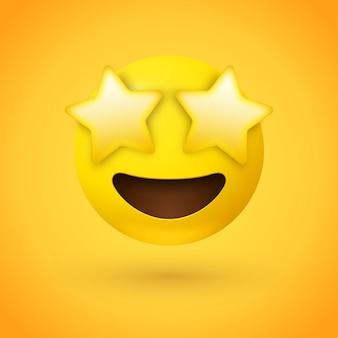 Estrella golpeó la cara de emoji con ojos de estrellas