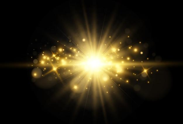 Estrella hermosa brillante ilustración de vector de un efecto de luz sobre un fondo transparente.