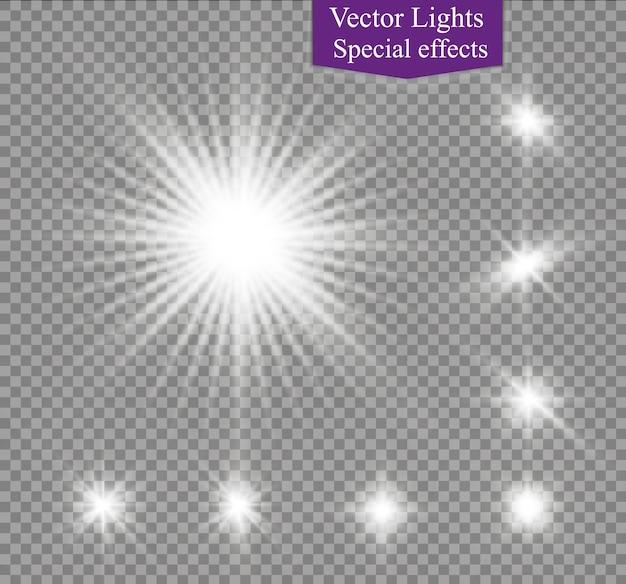 Estrella en una ilustración de efecto de luz de fondo transparente