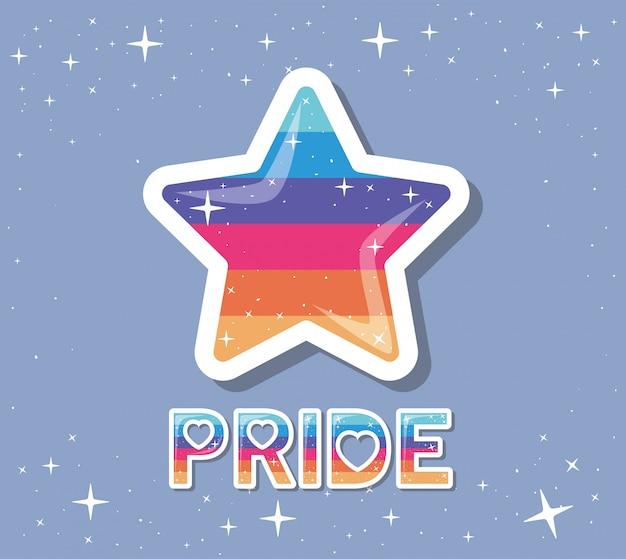 Estrella lgtbi con diseño de texto de orgullo