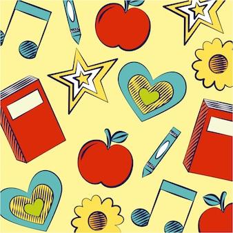 Estrella, libros, manzana y notas musicales, ilustración de regreso a la escuela