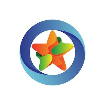 Estrella con logotipo de círculo