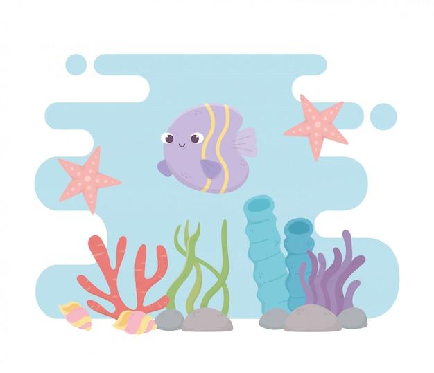 Estrella de mar peces conchas marinas vida arrecife de coral dibujos animados bajo el mar