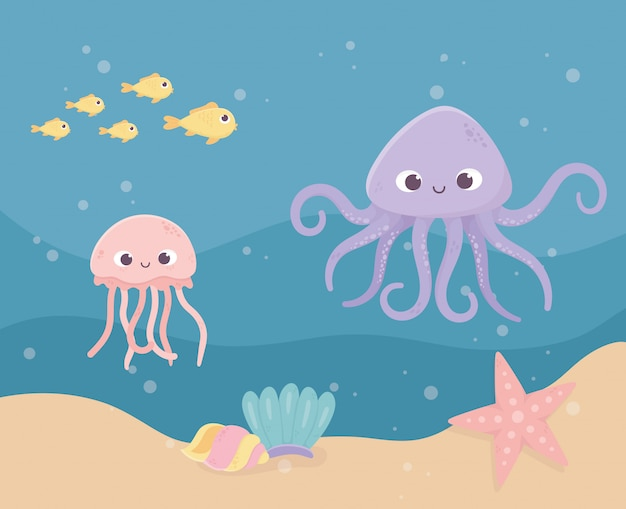 Estrella de mar pulpo medusa pescado arena burbujas vida dibujos animados bajo el mar