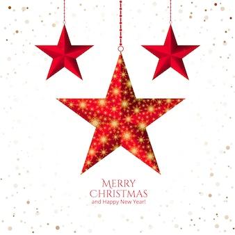 Estrella de navidad con copos de nieve sobre fondo blanco.