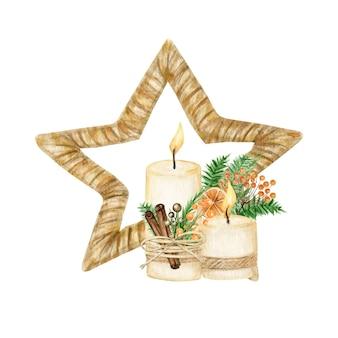 Estrella de navidad con decoración de madera estilo boho con vela. ilustración de año nuevo de invierno acuarela