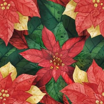 Estrella de navidad poinsettia de patrones sin fisuras