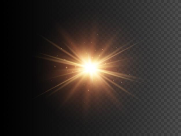 Estrella de oro con destellos. efecto de luz de brillo transparente de vector.