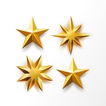 Estrella de oro establece símbolo de clasificación realista premio superior objeto de medalla brillante