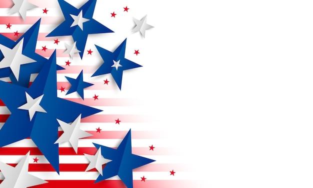 Estrella de papel sobre fondo blanco con copia espacio día de la independencia y banner de vacaciones