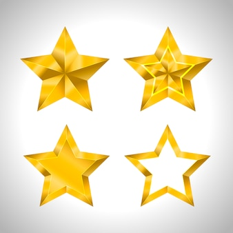 Estrella realista metalizado dorado aislado amarillo 3d navidad