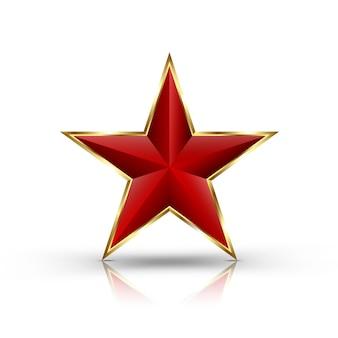 Estrella roja 3d aislada en blanco