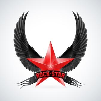 Estrella roja con estandarte de estrella de rock y alas