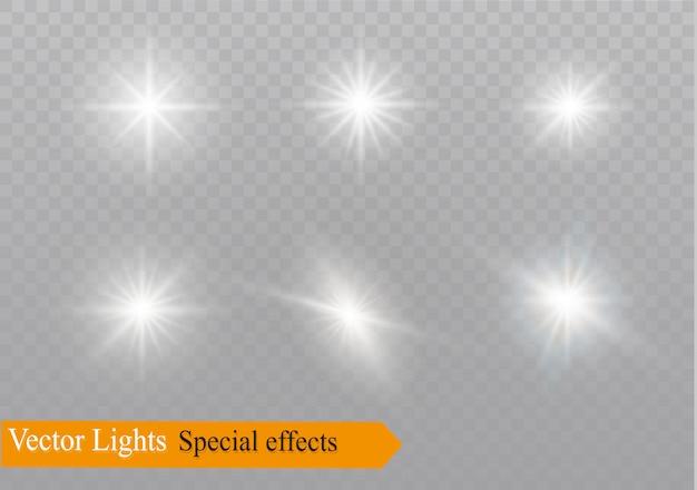 Estrella sobre un fondo transparente, efecto de luz, ilustración. estallar con destellos