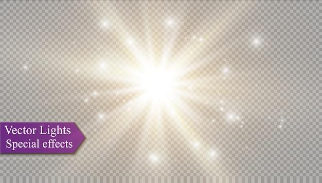 Estrella sobre un fondo transparente, efecto de luz, ilustración. estalló con destellos.