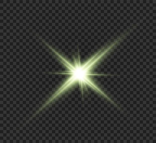Estrella verde, hermosos rayos, abstracción.
