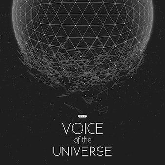 Estrellarse la esfera espacial en escala de grises