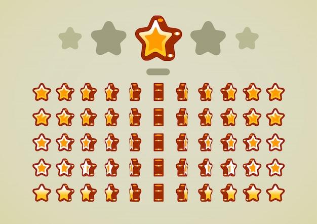 Estrellas animadas de oro para videojuegos.